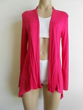 One Size 10/12 Hot Pink Stretch Asymmetrical Drape Wrap Cardigan Top NWOT