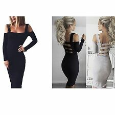 Autumn Sexy Women Long Sleeve Backless BodyCon Slim Party Camisole Mini Dress