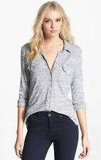 NWT JAMES PERSE GRAY & WHITE BUTTON DOWN JERSEY TOP, SIZE 2
