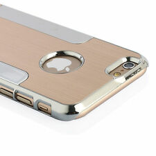 Silver Brushed Aluminum Steel Chrome Hard Case Cover for Apple iPhone 6s/6s Plus