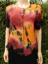 Size 14 Tunic Top Indie Embroidered Tie Dye Ethnic Boho  Black Red Yellow Boho