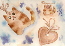 Gingerbread cookies and Christmas cats Original ACEO watercolor