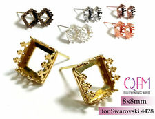 10pcs 8mm Square Bezel cup stud earrings Brass, Copper, Silver plated