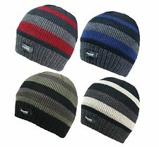 MENS KNITTED STRIPED THINSULATE FLEECE LINED BEANIE HAT