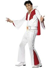 Elvis Fancy Dress Costume with Cape Mens White Pop Star Costumes