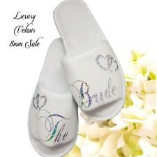 Personalised Bride Spa Slippers Wedding Guest Sparkling Silver Lettering