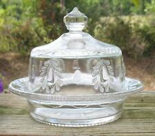 """GREENTOWN EAPT CLEAR  """"TEARDROP & TASSEL""""  ROUND COVERED BUTTER DISH"""