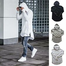 Mens Hoodie Sweater Hipster Long Line Hip-hop Zipper Sweatshirts Jacket Pullover