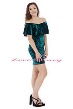 NEW LADIES VELOR OFF SHOULDER CRUSHED VELVET BARDOT FRILL BODYCON MIDI DRESS.