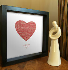 Personal Anniversary Gift | Any Song poem words | Vintage Heart Framed Print