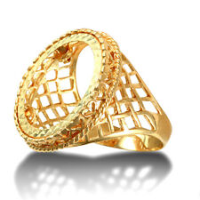 Jewelco London 9ct Gold Rope Edge Basket Full Sovereign Mount Ring
