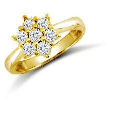 Jewelco London 9ct Gold CZ 7 Stone Cluster Engagement Ring