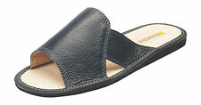 New Mens Genuine Leather Comfortable House Slippers Slip On Shoes UK Size 7-12
