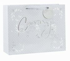 Baby Boys Girls Christening Luxury Gift Bag white + Silver Foil Small Size
