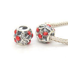 Authentic Genuine S925 Silver Red Enamel Sweet Cherries Bead Charm