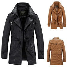 Men's Slim Trench Coat Winter Long Jacket Fleece Lined PU Leather Overcoat Parka