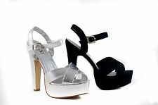 Inniu Studio Ladies Dress Party Platform High Heels Ankle Strap Black Silver