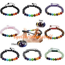 "Fashion 7 Chakra Gemstone Lava Magnetic Round Beads Adjustable Bracelet 6.8-11""L"
