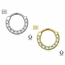 14Kt Gold Septum Clicker 14 gauge CZ Paved 10 Single raw Yellow or White Gold