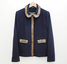 Boden jacket size 12 sequins navy blue wool bronze sequin trim collar coat