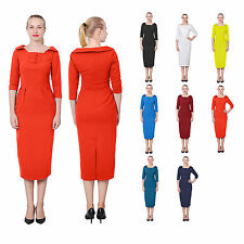 WOMENS ELEGANT CLASSY WORK OFFICE DRESS VINTAGE LONG WIGGLE PENCIL MIDI DRESSES