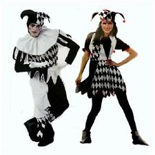 ADULT HARLEQUIN JESTER CLOWN CIRCUS COSTUME + HAT HALLOWEEN MEDIEVAL FANCY-DRESS