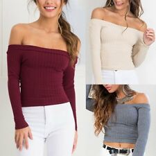 Women Sexy Off Shoulder Knitted Sweater Crop Top Casual Jumper Pullover Knitwear