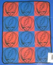 New Red Blue Steal Your Face Grateful Dead Plush Throw Gift Blanket SYF Skull