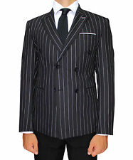 Black Stripe Double Breasted Semi Slim Fit Blazer