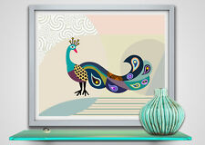 Poster Print Peacock Art Modern Abstract Bird Feather Painting Repro Decor
