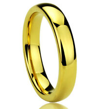 Men Women  Engraving 4MM Titanium Comfort Fit Wedding Band Gold Tone Dome Ring
