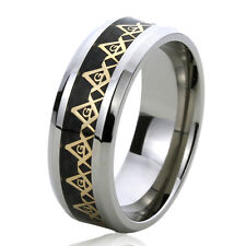 Men Women  Engraving 8MM Titanium Wedding Band Ring Gold Tone Masonic Symbol