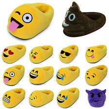 3D Emoji Plush Stuffed Unisex Couples Slippers Cartoon Winter Home Indoor Shoes