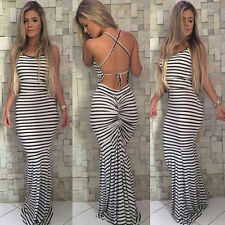 Womens Sexy Striped Backless Bodycon Pleated Cocktail Party Evening Maxi Dress