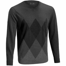Mizuno Merino Wool Breath Thermo Argyle Pullover Mens V-Neck Golf Sweater