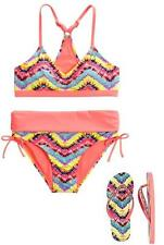NWT Girls Justice Chevron Bikini Two (2)  Piece Swimsuit Size 8 & 2/3 Flip Flops