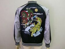 JAPANESE SUKAJAN dragon / tiger EMBROIDERY JAPAN JACKET Black NEW satin F/S
