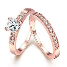 Women's Rings NEW 18k Rose Gold Filled Unique Band CZ Fashion Jewelry