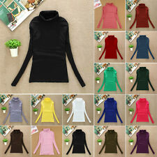 New Women Warm Slim Fit Turtle Neck Long Sleeve T-Shirt Casual Candy Color Tops