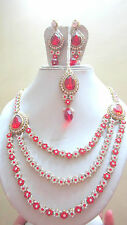 RED/WHITE-CRYSTAL-KUNDAN-CZ-GOLD-TONE-BOLLYWOOD-NECKLACE-JEWELRY-SEt-C -724