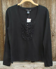 AUGUST SILK CASUAL BLACK LACE SILK BLEND LONG SLEEVE SWEATER KNIT TOP S M NEW