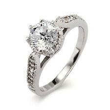 Sterling Silver Gorgeous Heirloom Design Crown Set CZ Ring