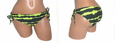 ROXY JUNIOR M 8 10 SWIMSUIT BIKINI BOTTOM TUNNEL SIDE TIE BLACK YELLOW 1652