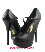 Matte Black  Fierce Mary Jane Simply Sexy Tribute Platform Stiletto Pumps Heels