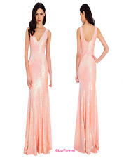 GODDIVA PEACH SEQUIN SWEETHEART PROM MAXI EVE WEDDING PARTY DRESS 8-14(WAS £79)