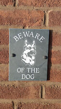 "BEWARE OF THE DOG GERMAN SHEPHERD NATURAL SLATE 8""X6"" HOUSE DOOR PLAQUE SIGN"