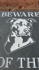 "BEWARE OF THE DOG PITT BULL TERRIER NATURAL SLATE 8""X6"" HOUSE DOOR PLAQUE SIGN"