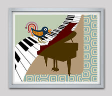 Abstract Piano Painting Piano Music Poster Artwork Bird Wall Art Print Decor