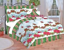 CHRISTMAS Holiday Winter COMFORTER SET Cabin Holly Poinsettias White Red & Green