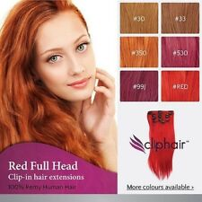 Finest Quality Red Clip In Hair Extensions. 100% Real Human Hair Extensions